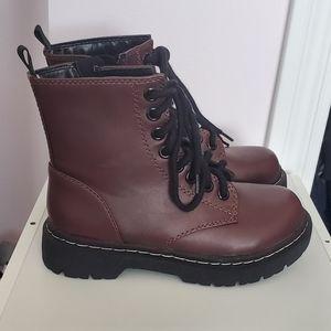 SODA// Burgundy combat boots size 5.5